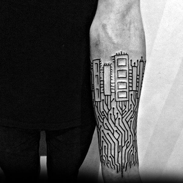 Cool Electronic Circuit Board Mens Inner Forearm Tattoo
