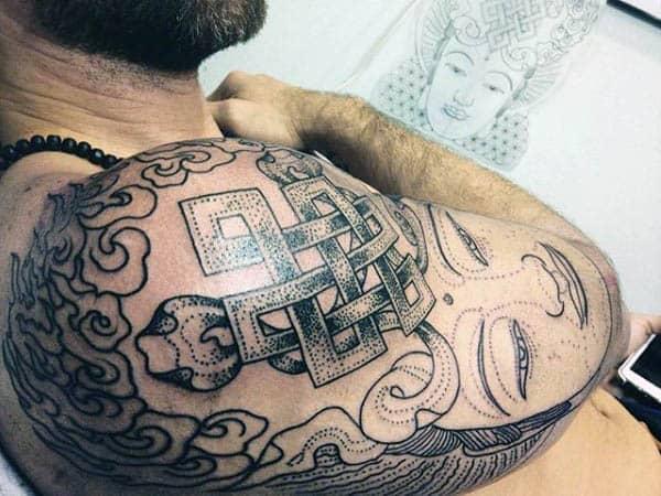 Cool Endless Knot Dotwork Mens Half Sleeve Tattoos