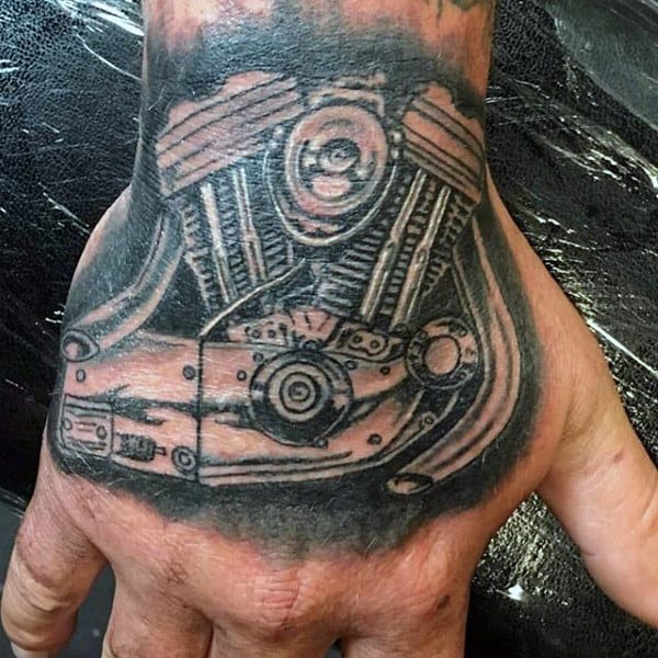 Cool Engine Hand Biker Tattoo Ideas On Men