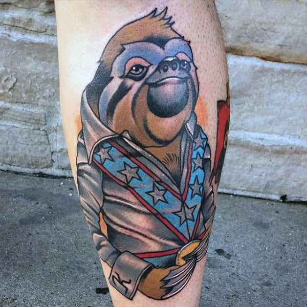 Cool Evel Knievel Themed Mens Sloth Leg Tattoos