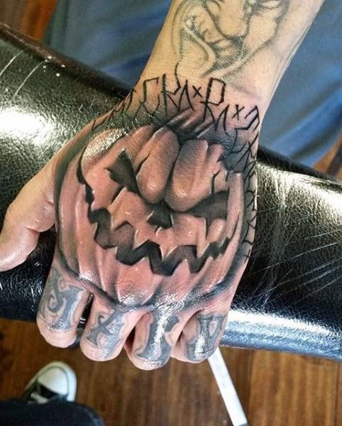 Cool Evil Hand Pumpkin Male Tattoo Ideas