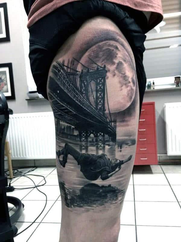 Cool Falling New York City Brooklyn Bridge With Moon Mens Thigh Tattoos