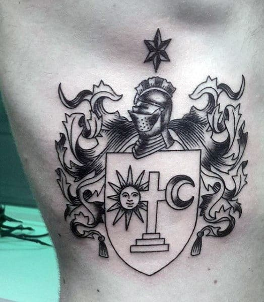 Cool Family Crest Tattoos For Guys With The Sun And Moon