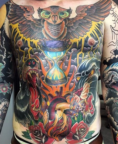 Cool Fantastic Colored Hourglass Tattoo Male Torso