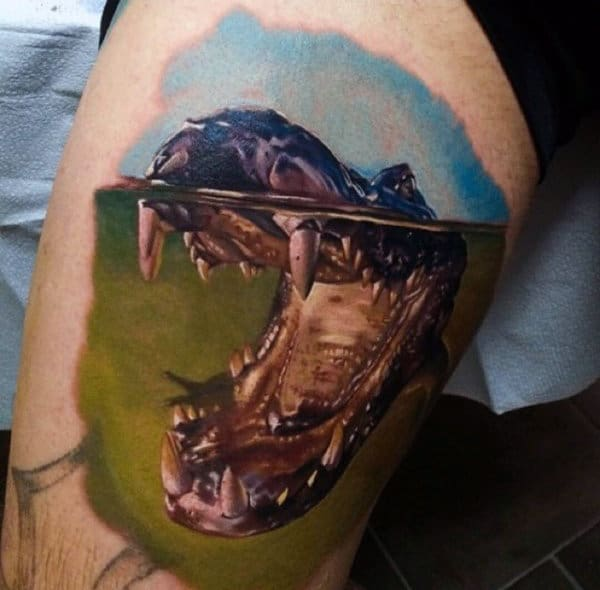 Cool Fighter Alligator Tatoo On Arm For Guys