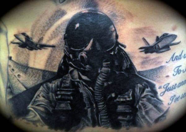 Cool Fighter Pilot Air Force Mens Back Tattoo Ideas