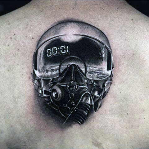 Cool Fighter Pilot Helmet Creative Mens Tattoos On Back