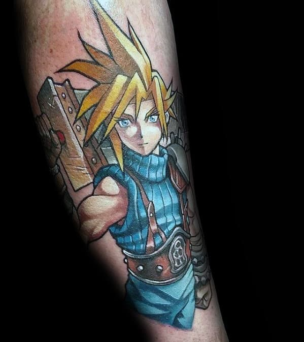 cool final fantasy cloud strife male forearm tattoo