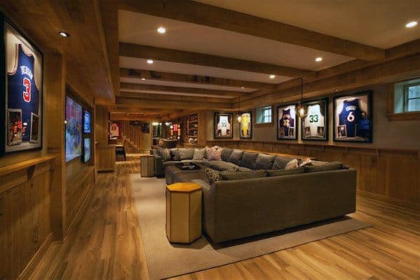 Cool Finished Basement Man Cave Sports Themed
