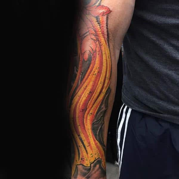 Cool Fire Mens Forearm Tattoo