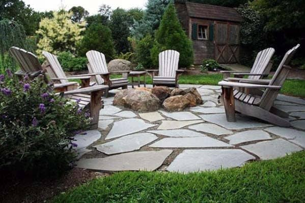 Cool Fire Pit Landscaping With Flagstaff Stone