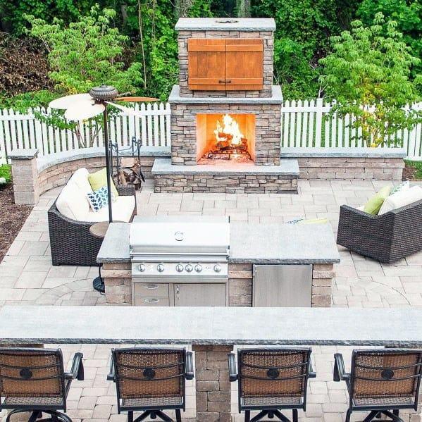 Cool Fireplace Bar Paver Patio