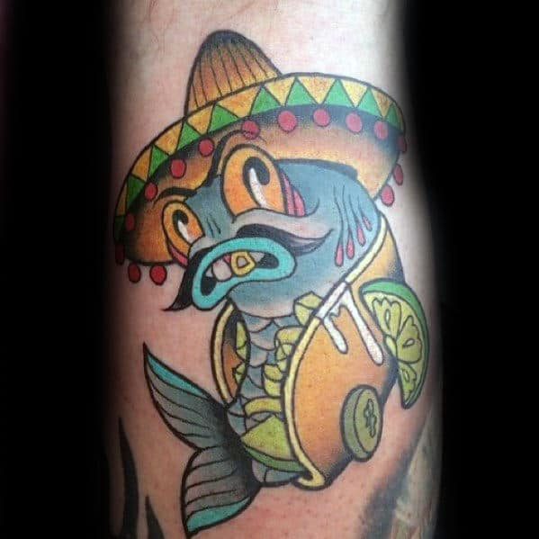 Cool Fish Inside Taco With Sombrero Guys Arm Tattoos