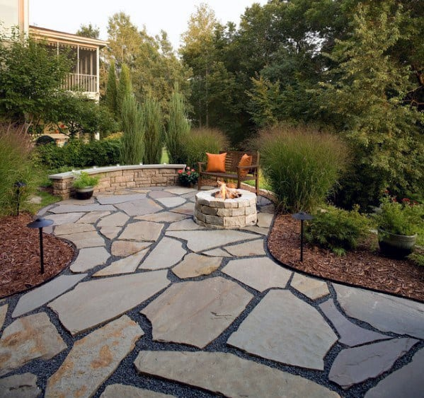 Cool Flagstone Patio With Small Fire Pit And Ledge Seating