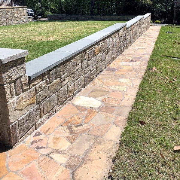 Cool Flagstone Walkway With Stone Retaining Wall