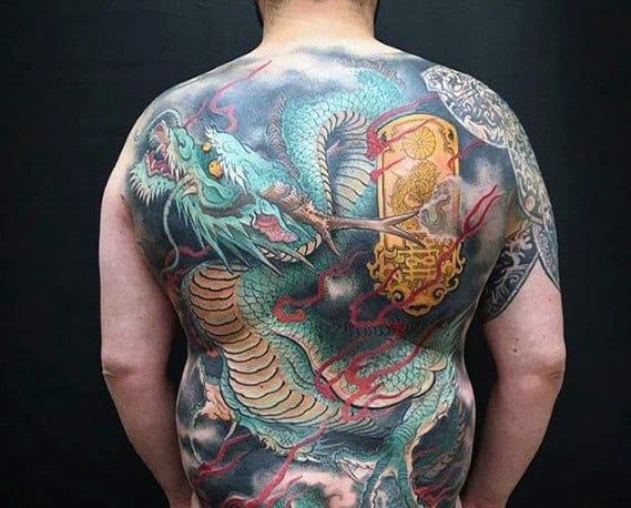 Cool Flaming Dragon Japanese Guys Back Tattoo