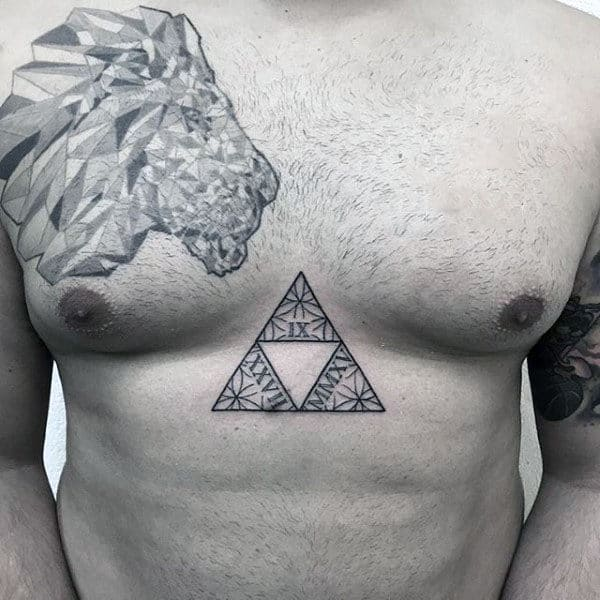 Cool Flower Of Life Geometric Mens Triforce Legend Of Zelda Chest Tattoos