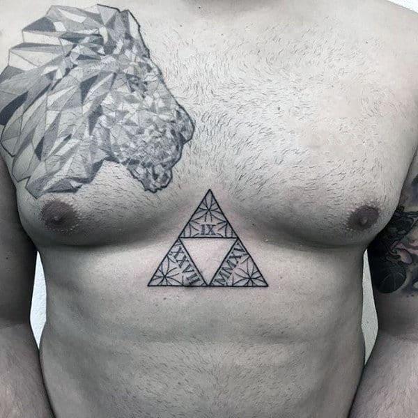 Cool Flower Of Life Geometric Mens Triforce Legend Of Zelda Chest Tattoos