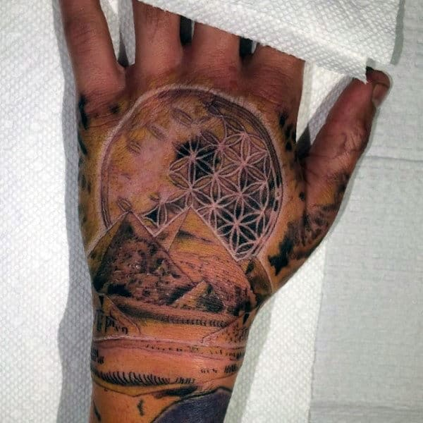 Cool Flower Of Life With Pyramids Mens Hand Tattoos