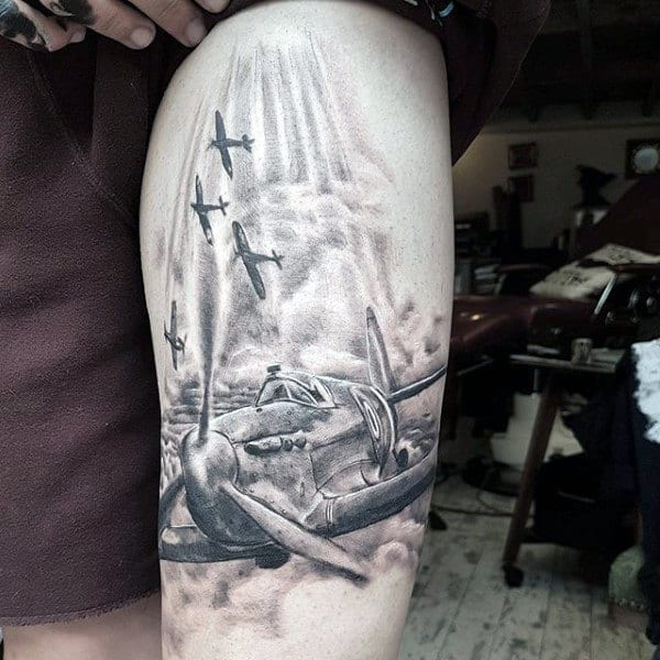 Cool Flying Fighter Planes Mens Ww2 Themed Thigh Tattoo Designs