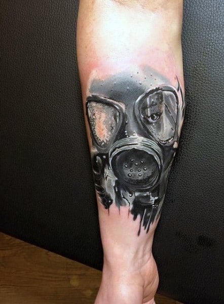 Cool Forearm Gas Mask Dripping Tattoo On Mens Forearm