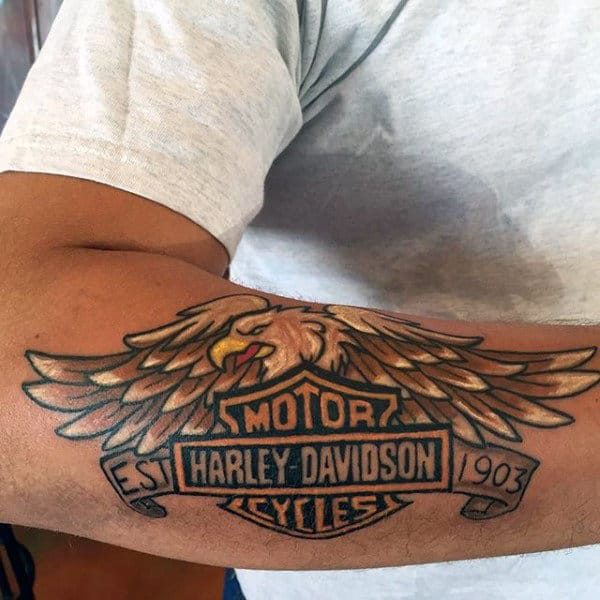 Cool Forearm Harley Davidson Eagle Tattoos For Men