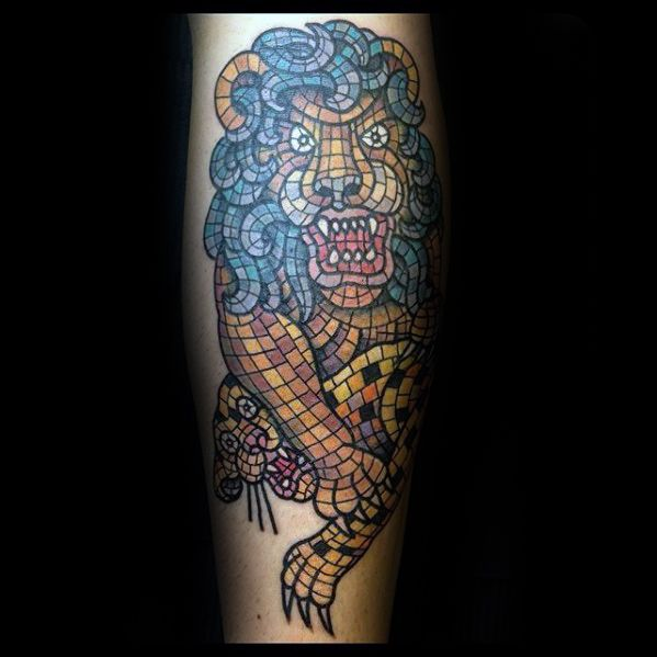Cool Forearm Lion Mosaic Tattoo Design Ideas For Male