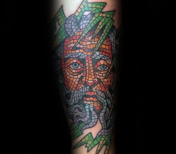 Cool Forearm Male Mosaic Tattoo Designs