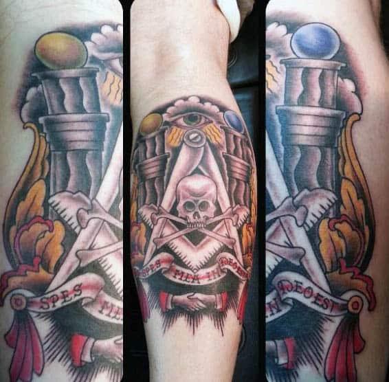 Cool Forearm Masonic Skull And Cross Bones Mens Forearm Tattoos