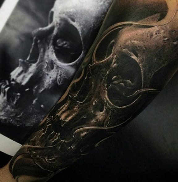 Cool Forearm Sleeve Mens 3d Detailed Skull Tattoo Designs