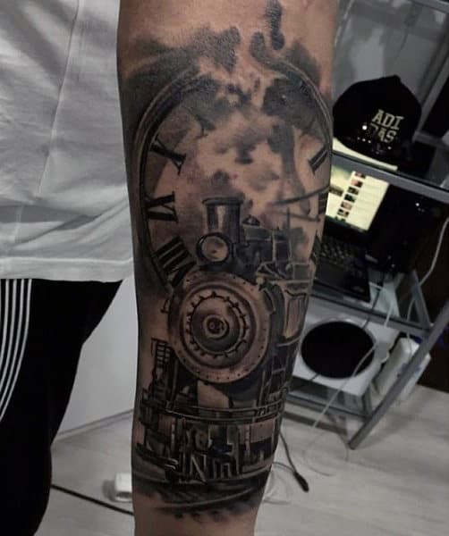 Cool Forearm Train And Clock Tattoo For Men