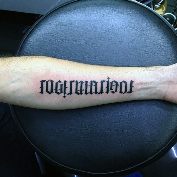 Cool Forearm Wrist Ambigram Tattoos For Males