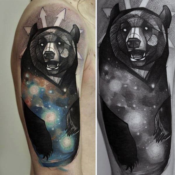 Cool Fox And Universe Tattoo Mens Upper Arms
