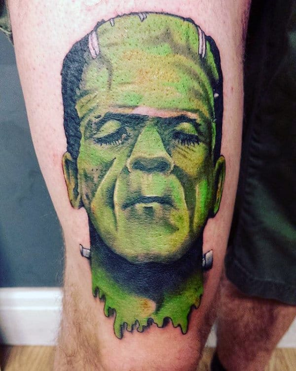 Cool Frankenstein Thigh Tattoos For Guys