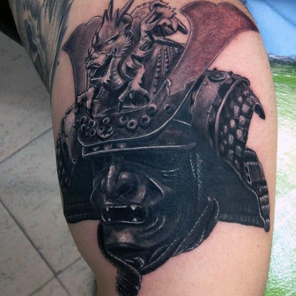 Cool Front Crest Samurai Helmet Mens Arm Tattoos