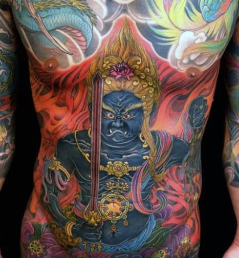 Cool Fudo Myoo Tattoo Design Ideas For Male Full Chest