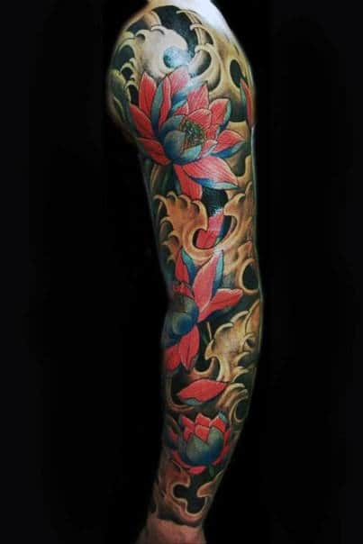 Cool Full Arm Sleeve Japanese Flower Themed Male Tattoo Design Ideas