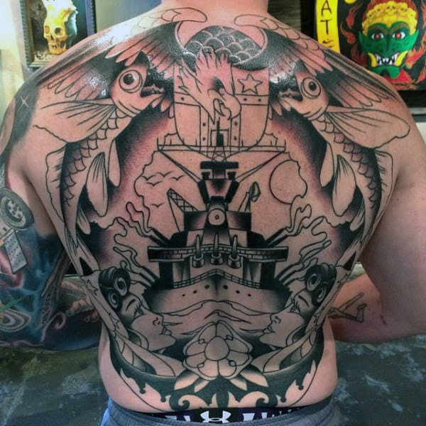 Cool Full Back Navy Tattoo Ideas For Guys