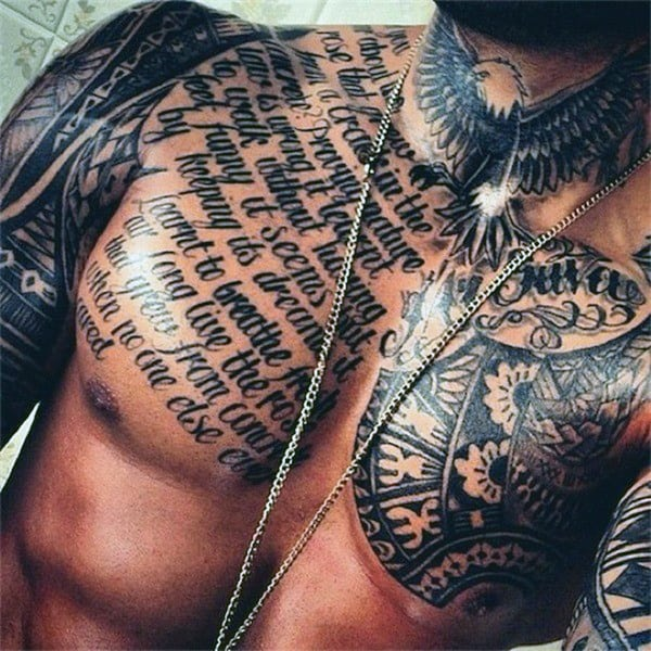 Cool Full Chest Quote Tattoos For Men
