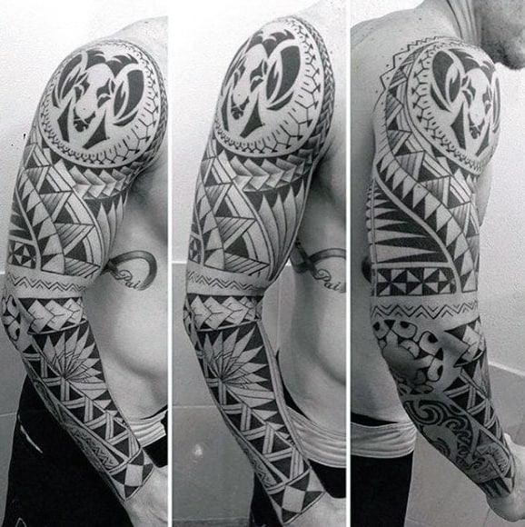 Cool Full Maori Sleeve Male Tattoos