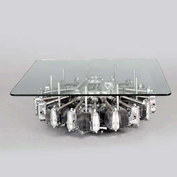 Cool Furniture For Man Caves Engine Glass Coffee Table