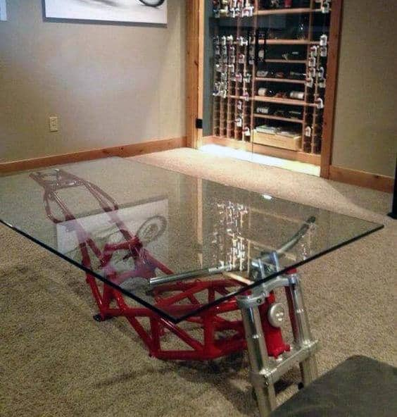 Cool Furniture For Men Coffee Table With Motorcycle Frame