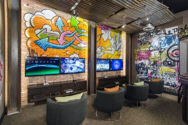 Cool Gaming Man Cave With Industrial Design