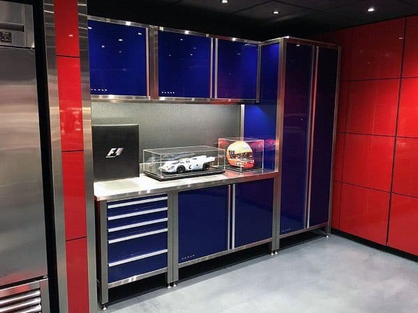 Cool Garage Blue Glossy Cabinets