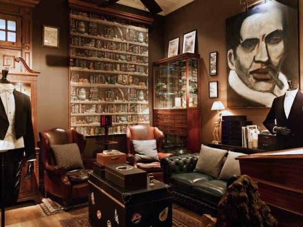 Dark Green Library Room