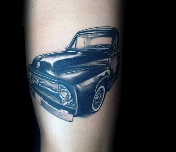 Cool Gentlemens Tattoo Of Vintage Truck