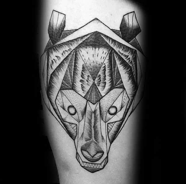 Cool Geometric Bear Head Mens Arm Tattoo