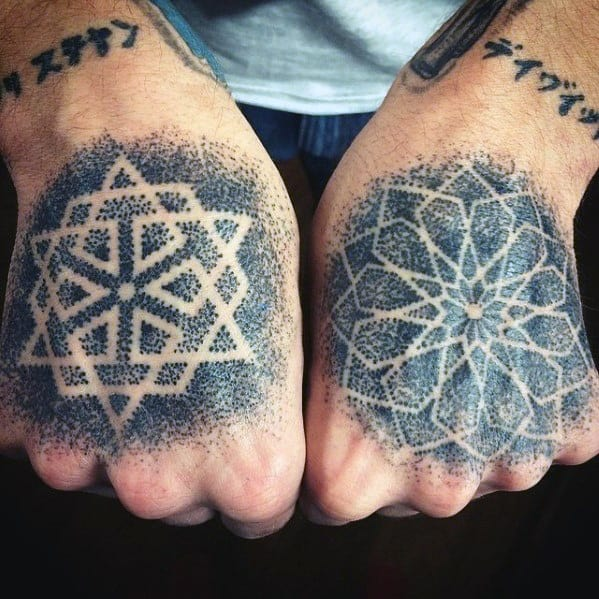 Cool Geometric Dotwork Negative Space Hand Tattoo Design Ideas For Male