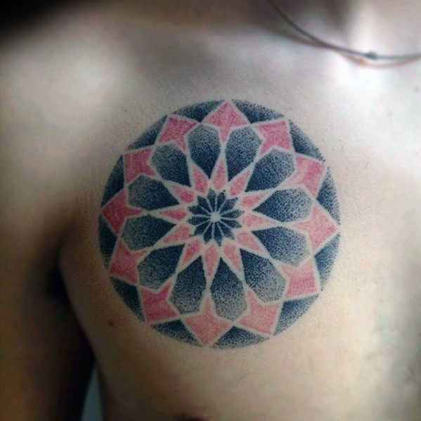 Cool Geometric Red And Black Ink Dotwork Chest Tattoo Design Ideas For Male