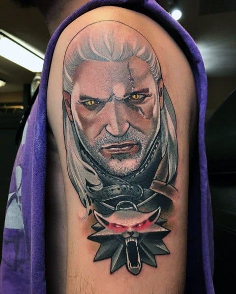 Cool Geralt Tattoos For Men On Arm